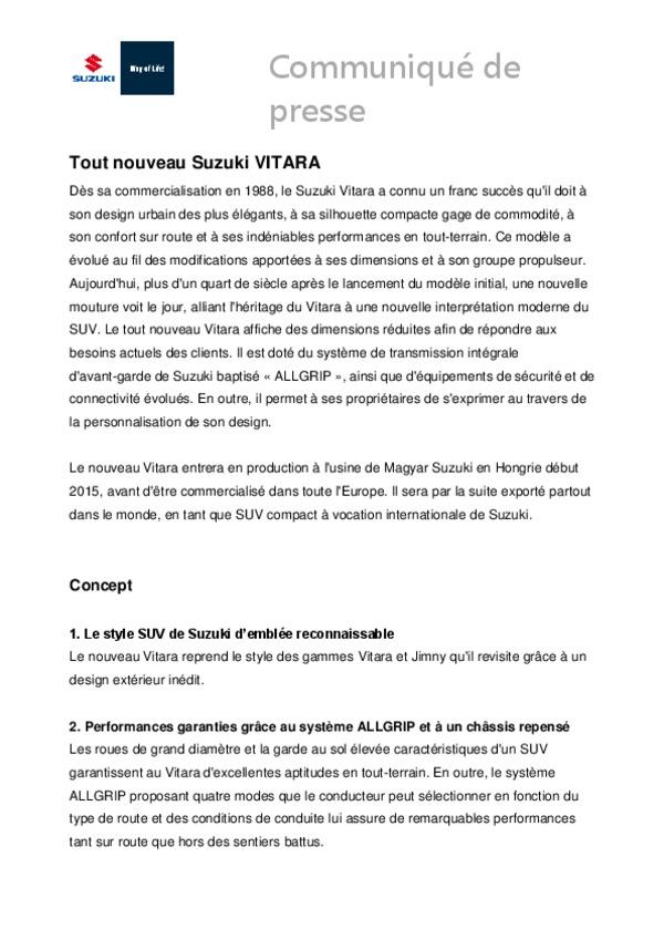 Top Tout nouveau Suzuki VITARA   Suzuki   Salle de presse LV15
